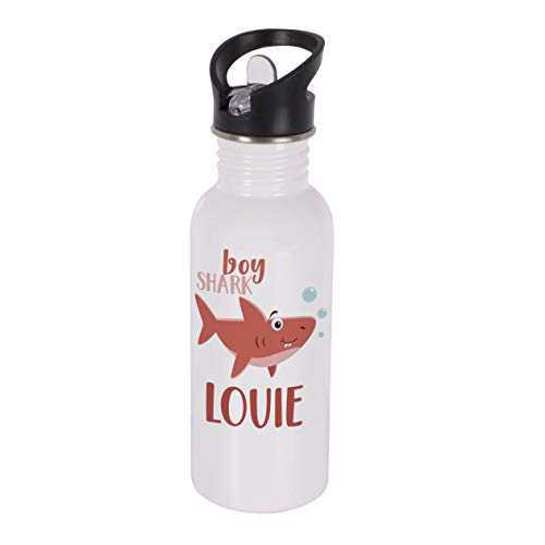 (Personalized Water Bottle Shark with Name - Stainless Steel Double Wall Water Bottle with Straw and Lid 600ml 20oz - Cold or Hot Drinks - Birthday Gifts, Boy Shark)