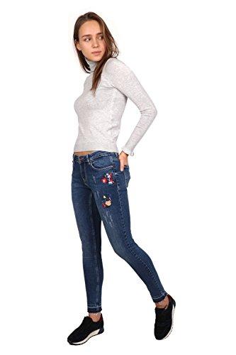 Azul para LB017 Mujer Skinny Rogen Vaqueros Pild wYxqPBn14