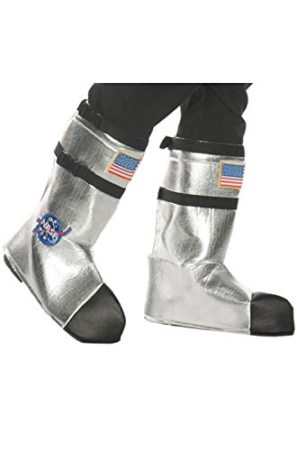 Underwraps Adult Astronaut Boot Top Covers Costume-Silver, One Size