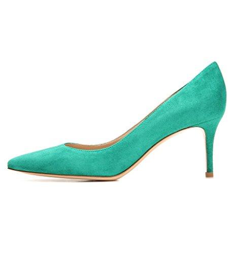 de Bombas 5cm corte ELASHE tacones Dedo estilete Verde Zapatos del mujer Elegante puntiagudo de pie 6 dPr6PTwqnB