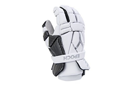 Epoch Lacrosse Integra High Perfomance Lacrosse Glove with Phase Change Technology, Real Carbon Thumb for Attack, Middie and Defensemen (13 inch) (White)