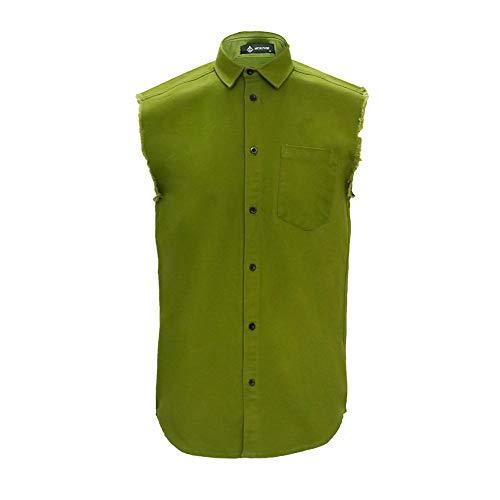 (MCULIVOD Men's Sleeveless Denim Cotton Shirt Biker Vest Cowboy Button Down with Shirts Front Pocket Green)