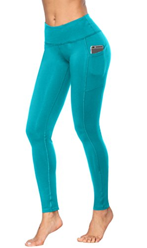 Fengbay High Waist Yoga Pants, Pocket Yoga Pants Tummy Control Workout Running 4 Way Stretch Yoga Leggings Blue, Medium