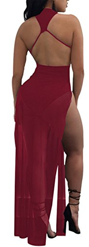 Dress High Wine Split Long Backless Club Womens Red Mesh See Neck Crew Through Party Sexy 74qWOWB1C