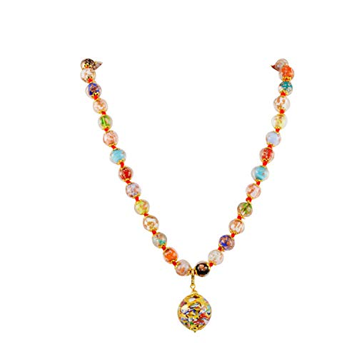 Just Give Me Jewels Venice Murano Sommerso Aventurina Glass Bead Strand Klimt Ball Pendant Necklace in Multicolor ()