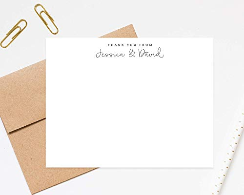 (Thank You from Couple Personalized Stationery - Stationary Notecard Thank You Cards - Bridal Shower Personal Notecard Gift with Envelopes)