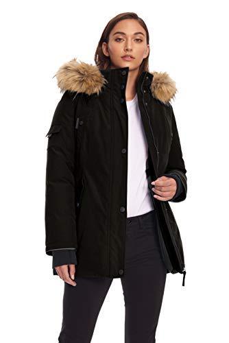 Alpine North Womens Vegan Down Parka Winter Jacket, Black, XL