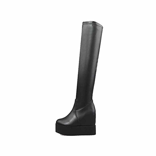 High on AgooLar Heels Material Black Women's Soft Pull top Solid Boots High zTXBw