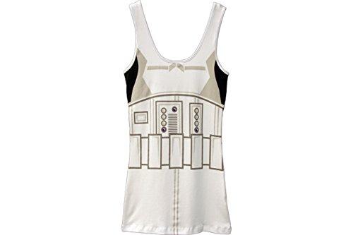 Star Wars Storm Trooper Juniors White Costume Tank Top Shirt (Juniors Small) -