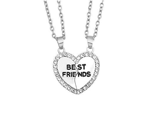 JOYID 2pcs/ Set Split Heart Best Friends Best Bithches Pendant Friendship Necklace Best Gift for Friends-Best Friends Silver (Nintendogs Best Friends Cheats)
