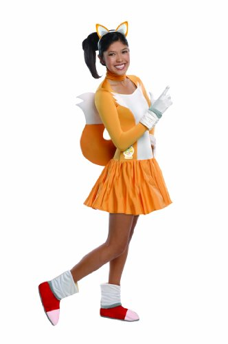 Sonic Adult Costumes (Rubie's Costume Sonic The Hedgehog Tails Dress and Accessories, Orange/White, Teen)