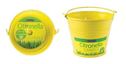4 x Yellow Metal Bucket Citronella Candle Garden Home Tin Candle With Metal Handle Fly Insect Mosquito Repellent Deterrent Summer Candle Scented Fragrance Parties BBQ Decoration Table Size Candle
