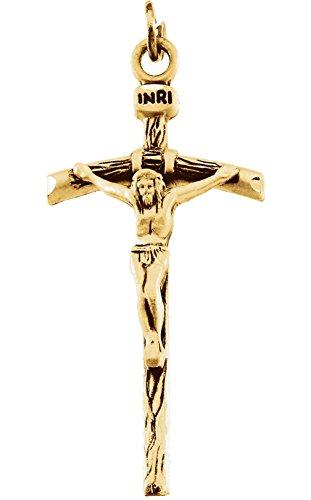 Papal Crucifix 14k Yellow Gold Pendant (29X18MM)