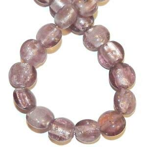 Steven_store G1435 Purple 12mm Puffed Flat Round Silver Foil Lined Lampwork Glasss Beads 16