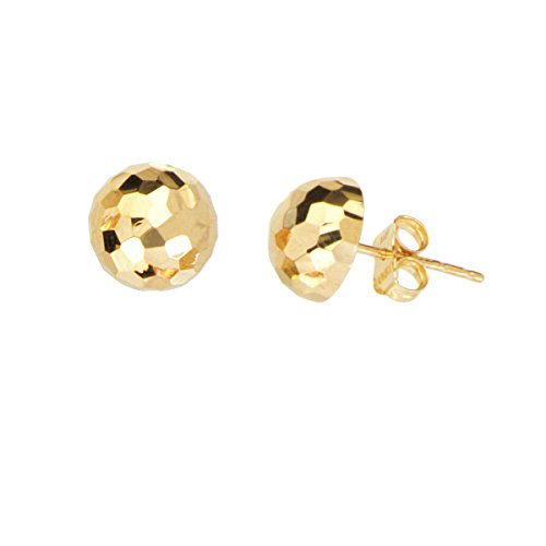 Ball Stud Earrings Mirror Disco Diamond-cut Texture ()