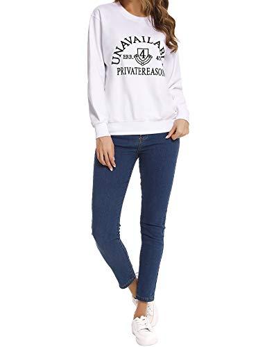 Sykooria Crewneck Sweatshirt for Men Women, Fashion Pullover Lightweight T-shirts Sweat Shirt White