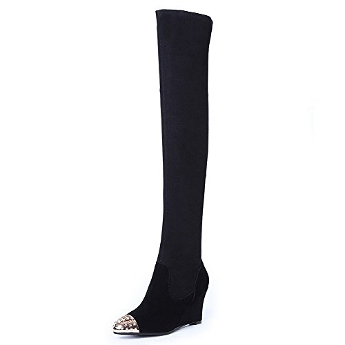 Women's Fabric Allhqfashion Blend with Heels Materials Elastic Wedge Boots High Black ZwdCq