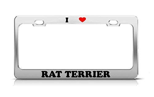 Fshionlicendseplate I Heart Rat Terrier Cat Dog Puppy License Plate Frame Aluminum Funny for Women
