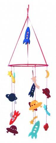 Mobile Aus Filz Dekoration Für´s Kinderzimmer Modell Weltraum