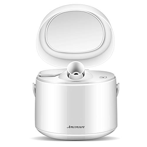 Amconsure Facial Steamer Nano Ionic Warm Mist Moisturizing Face Steamer Humidifiers for Home Sauna SPA Face Sprayer with Mirror, Pores Cleanse Clear Blackheads Acne Impurities Skin Cares