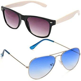 8e2a33abbb Sheomy Unisex Sunglasses Combo Pack of White Side Wayfarer Sun glasses and  Silver Light Blue Avaitor
