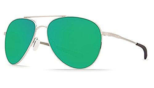 Costa Cook Sunglasses Brushed Palladium / Green Mirror 580P & Cleaning Kit