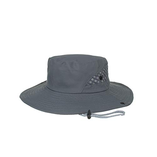 Outdoor Mesh Sun Hat Wide Brim Summer UV Sun Protection Hat Fishing Hiking Hat with Adjustable Strap Gray