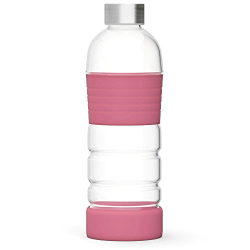 Xtremeglas 32 oz Glass Water Bottle with Silicone Sleeves 1L Leak Proof Spill Proof Lid BPA Free Unique Design Recyclable Eco Friendly ONE Bottle PER Package! (Bubble Gum)