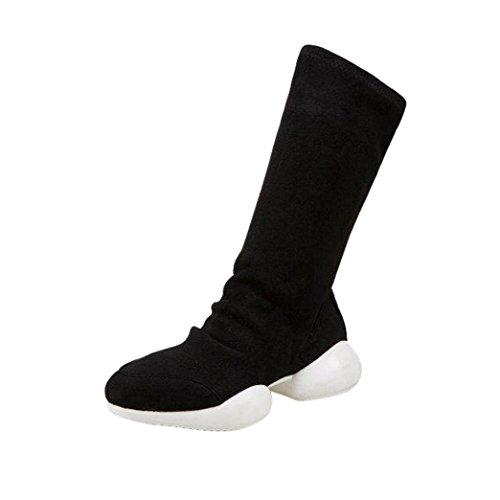 Elevin(TM) 2018Women Fashion Stretch Fabrics Mid-Calf Socks Boots Low Heel Platform Combat Boots Shoes (8.5US, Black)