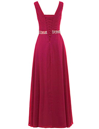 V Burgundy Long Crystals Neck Dresses Gown Party Women's ANTS Prom Wedding vYq57x6nw