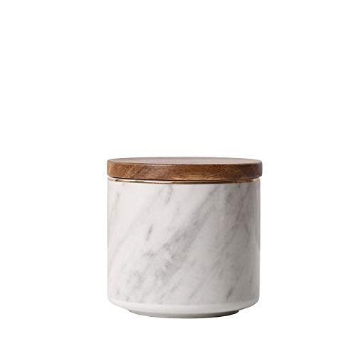 Danmu 1Pc of Ceramic Marble Pattern Candy Dish with Wood Airtight Lids Candy Cookie Jar Storage Jar Jewelry Box Buffet Jar Biscuit Coffee Oatmeal Tea Sugar Containers (3.93