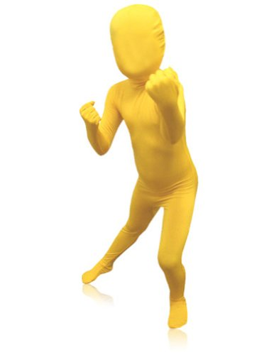 [SecondSkin Men's Full Body Spandex/Lycra Suit, Yellow, Kids M] (Yellow Morphsuit)
