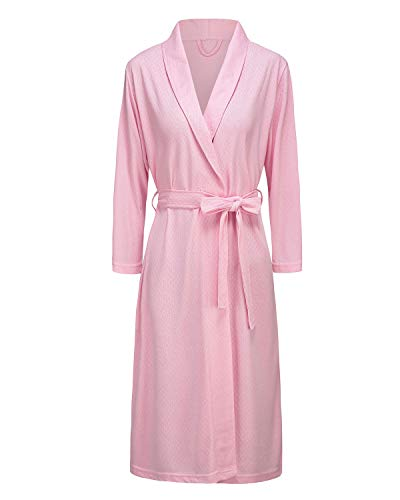 Bath Robe for Womens Soft Kimono Bathrobe Waffle Weave Knee-Length Hotel Spa Robe Lightweight Dressing Gown Pink ()