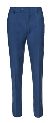 RGM Boys Dress Pants Flat-Front Skinny fit Slacks - Poly Rayon Giovanni Uomo New Blue 14]()
