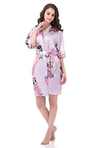 gusuqing Women s Printing Peacock Kimono Robe Short Sleeve Silk ... 488e4a6b2