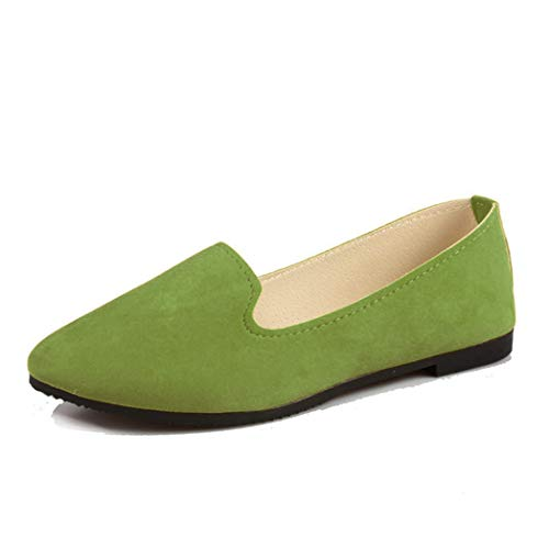 York Zhu Women Loafers,Pointed Toe Candy Color Shallow Mouth Slip-on Casual Flats Shoes -