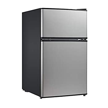 Image of Home and Kitchen Midea WHD-113FSS1 Double Door Mini Fridge with Freezer for Bedroom Office or Dorm with Adjustable Remove Glass Shelves Compact Refrigerator 3.1 cu ft, Stainless Steel