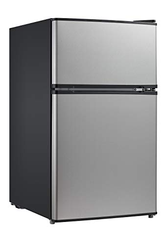 - Midea WHD-113FSS1 Double Door Mini Fridge with Freezer for Bedroom Office or Dorm with Adjustable Remove Glass Shelves Compact Refrigerator 3.1 cu ft, Stainless Steel