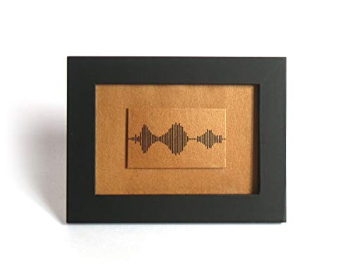 Small Framed Print - I Love You Soundwave Art, Bronze Mountain Reflection Landscape, Visible Voice Anniversary, Wedding Gift for him/her, 3.5 x 5 inch, Small Things Great Love