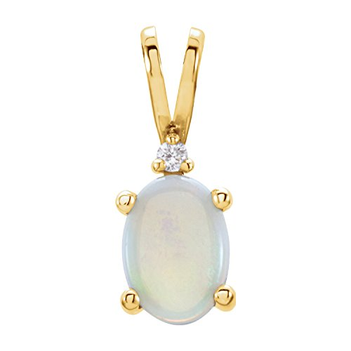 - C.Hersh Genuine Opal Cabochon Accented 4-Prong Pendant 14k Yellow Gold Mounting – (7x5mm, Oval-Shaped)