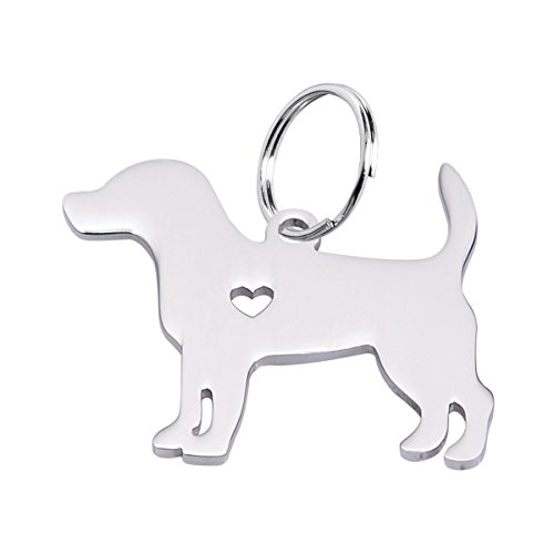 Housweety 1pc Stainless Steel Beagle Dog Pendant 3x2.4cm ()