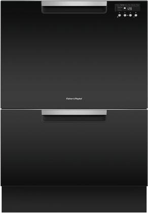 "Fisher Paykel DD24DCTB9 24"" Tall Double Drawer DishDrawer Dishwasher with 14 Place Settings 2 Cutlery Baskets Child Lock SmartDrive TM Technology and Recessed Handle in"