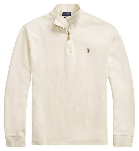 (Ralph Lauren Polo Men's Estate-Rib Cotton Mock Neck Half Zip Pullover Sweater (Chic Cream, XX-Large))