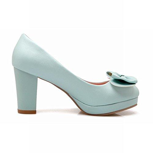 MissSaSa Damen elegant Chunky high heel Plateau Pumps mit Schleife Blau