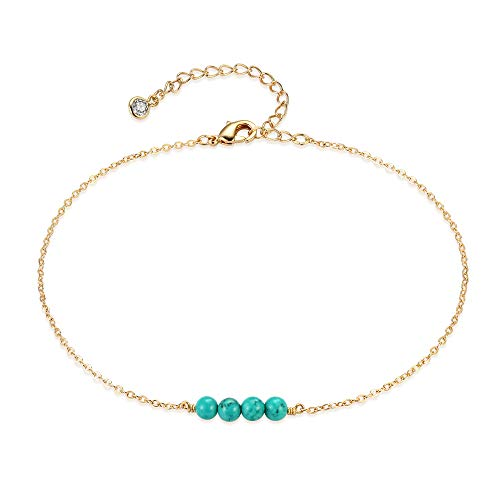 (Mevecco Women Turquoises Layered Anklet Delicate Handmade 18k Gold Plated Dainty Beach Pearl Foot Chain Adjustable Wafer Anklet for Women ANK-4 Turquoises)