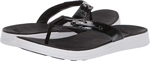 (SPERRY Women's Adriatic Thong Skip Lace Leather Sandal, Black, 9 )