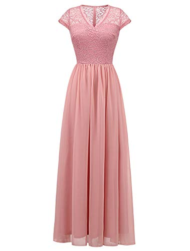 Glamorous Formal Dresses - Wedtrend Long Lace Chiffon Maxi Bridesmaid Dress V Neck Formal Party Gown DressWT0208BlushXS