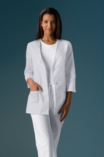 Cherokee Light and Lovely Collection Poplin 3/4 Sleeve Jacket Scrub Jackets Womens, White; M (Poplin Coat Lab)