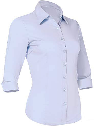 Satin Exclusive Cotton - Pier 17 Button Down Shirts for Women 3 4 Sleeve Fitted Dress Shirt and Blouses Work Top (Medium, New Blue)