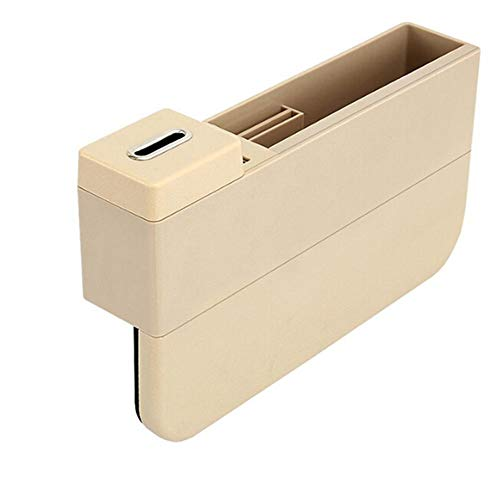 Oneuda Car Seat Side Pocket Console Organizer USB Ports Seat Gap Filler Car Interior Accessories for Cellphones Keys Cards Wallets Coins (Beige)